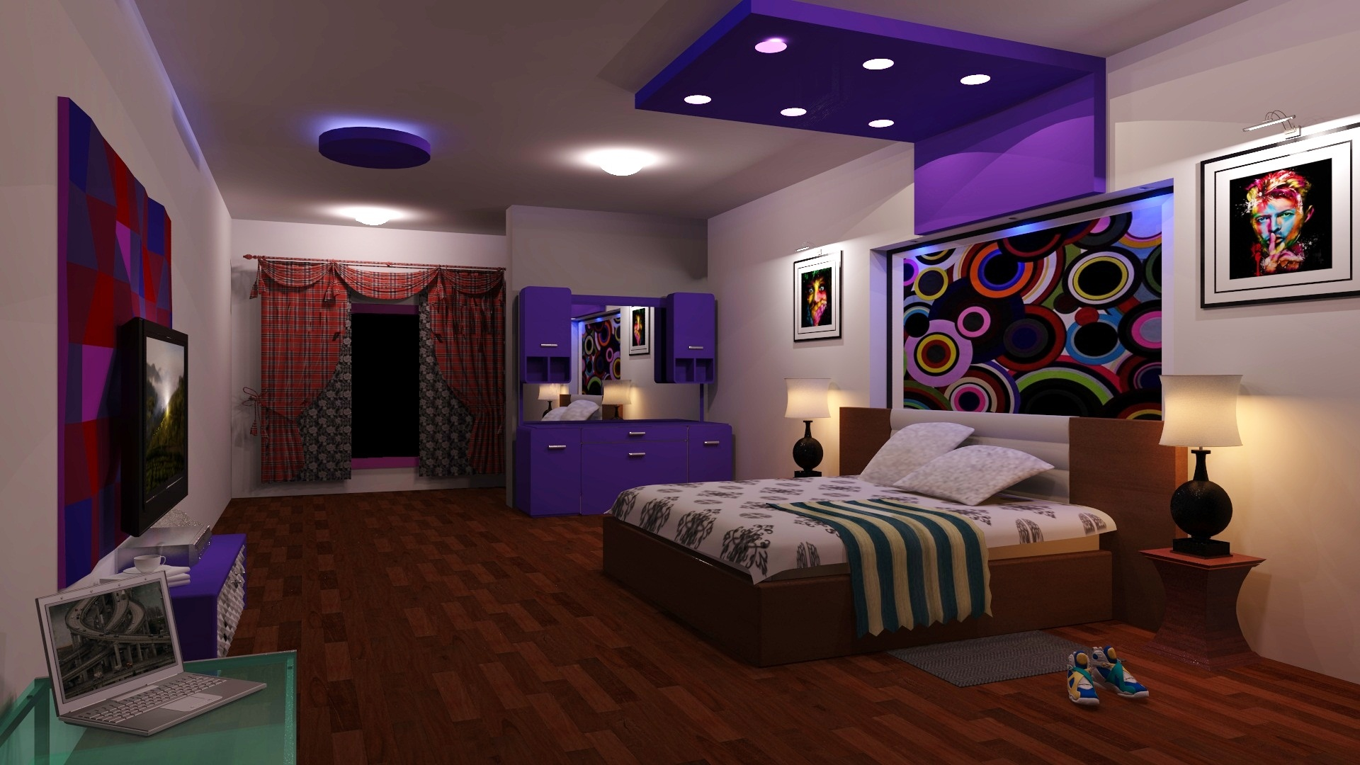 d bedroom interior design free white bedroom with green 3d view of bedroom design - 3d Bedroom Design
